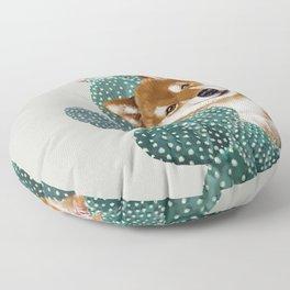 Shiba Inu and Cactus Floor Pillow