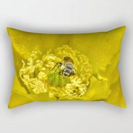 Rainy Day Cactus Flower Bee Rectangular Pillow