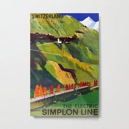The elctric Simplon line Vintage Travel Poster Metal Print