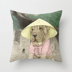 Shar Pei on the Great Wall (China) Throw Pillow
