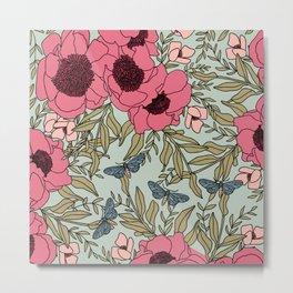 Mint & California Poppies | Hand-drawn Modern Floral  Metal Print