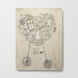 flowerheart-transport Metal Print