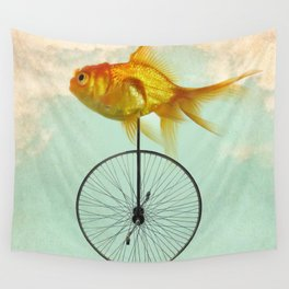 unicycle goldfish Wall Tapestry