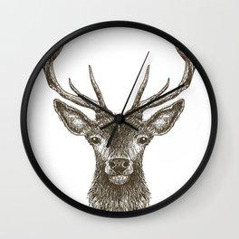 Deer Head Drawing Brown Wall Clock