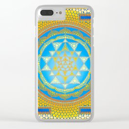 Sri Yantra painting on canvas Clear iPhone Case