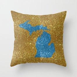 Michigan glitter Throw Pillow