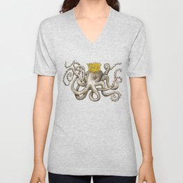 Scribbled Octopus, King of the Sea Unisex V-Neck