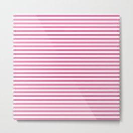 White and Pink Nautical Stripe Metal Print