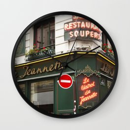 French Bistro - travel photography Wall Clock