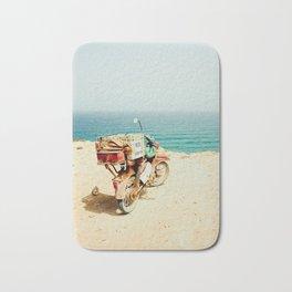 Vintage Motorcycle, Beach, Motorcycle, Travel, Explore, Wanderlust, Ocean, Vintage, Retro Bath Mat
