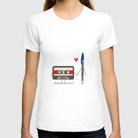 pen T-shirts featuring Love: cassette and pen by AlbaRicoque