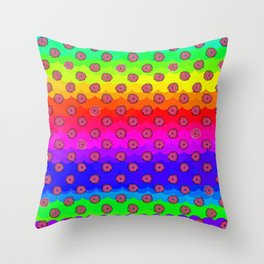 Rainbow and pink flowers Throw Pillow