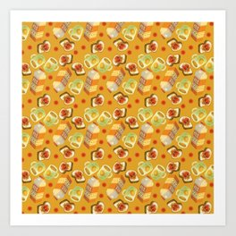 Coffee and Toast (Honey Yellow) Art Print