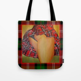 Young Girl Flirting Tease Me in Tartan With Border Tote Bag