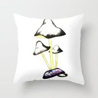 mushroom Throw Pillows featuring MUSHROOM by gaus
