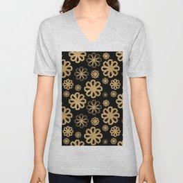 Glitter Sand Flower Pattern-Gold&Black Unisex V-Neck