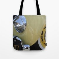 volkswagon Tote Bags featuring Yellow Love Bug by wildVWflower