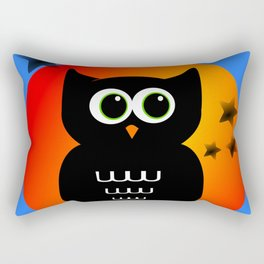 Black Owl on Moon Rectangular Pillow