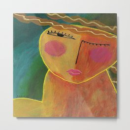 Abstract Acrylic Portrait of a Woman Metal Print