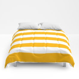 UCLA gold - solid color - white stripes pattern Comforters