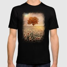 lone tree & sunflowers field (colour option) Mens Fitted Tee SMALL Black