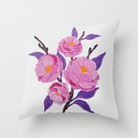 study Throw Pillows featuring Flower study by Bexelbee