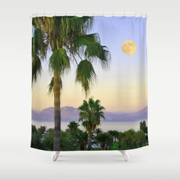 Palms on Full Moon Shower Curtain