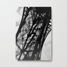 Eiffel Tower Base Detail in Black and White Metal Print