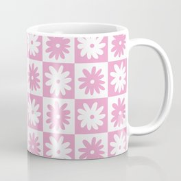 Pink And White Checkered Floral Pattern Coffee Mug