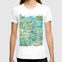 USA Midwest States Travel Map MN WI MI IA KY IL IN OH MO With_Highlights T-shirt