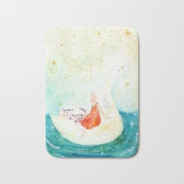 a girl with a cat enjoy traveling on the swan boat Bath Mat