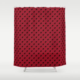 Bull Moose Silhouette - Black on Red Shower Curtain