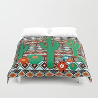 southwest Duvet Covers featuring Southwest Cactus by Vannina
