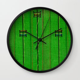 Symbols On Green Background Japanese Shima-Shima Pattern Wall Clock