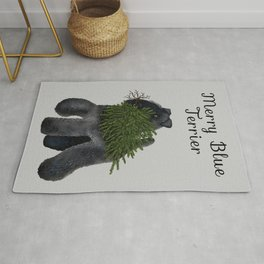 Merry Blue Terrier (Gray Background) Rug