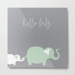 Mom and Baby Elephant Metal Print