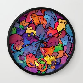 Bubblegum Kitty Rainbow Galaxy Wall Clock