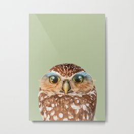 OWL WITH GLASSES Metal Print