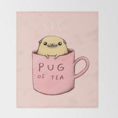 Pug of Tea Throw Blanket