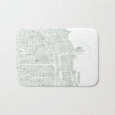Map Chicago city watercolor map Bath Mat