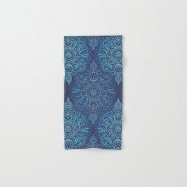 Aqua, Cobalt Blue & Purple Protea Doodle Pattern Hand & Bath Towel