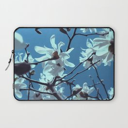 White Magnolia Bloom Blue Sky Laptop Sleeve
