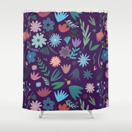 Romantic Folk Inspired Floral Herbarium Print Shower Curtain