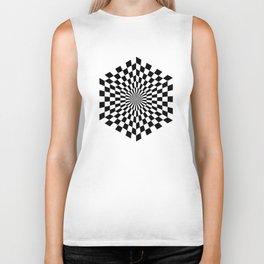 Op art hexagon, black and white geometric art Biker Tank