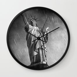 Starry Night, 1940 Statue of Liberty time lapse black and white photograph Wall Clock