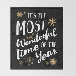 It's the Most Wonderful Time of the Year - Black Throw Blanket