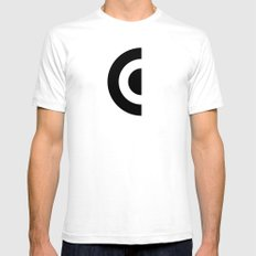 E - Alphabet White Mens Fitted Tee SMALL