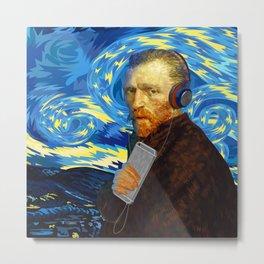 DJ Van Gogh Starry night iPhone, ipod, ipad, pillow case and tshirt Metal Print