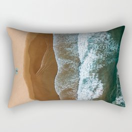 Woman On Turquoise Towel Alone On Beach, Aerial Drone Photography, Ocean Wall Art Print, Minimalism Rectangular Pillow