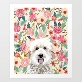 Golden Doodle florals pet portrait art print and dog gifts Art Print